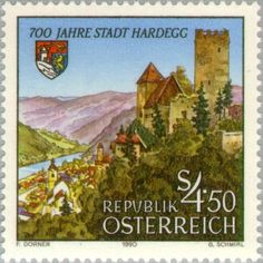 Sello: Townscape & coat of arms of Hardegg (Austria) (Hardegg) Mi:AT 1995,Sn:AT 1508,Yt:AT 1824,ANK:AT 2027