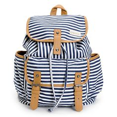 Get a little nautical fashion with the Empyre Girl Emily Striped rucksack backpack for back to school. This navy blue and white stripe print pack features a fully lined main compartment, two open side pockets, and a front flap pocket for your small stuff. With a drawstring cinch closure, magnetic snaps, and tan PU trims, the Emily Empyre backpack has a dangerously good look.