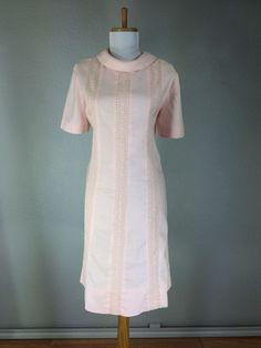 Vintage 1960s Pink Linen Dress Embroidered Floral Mod Herman Marcus Size Large   eBay