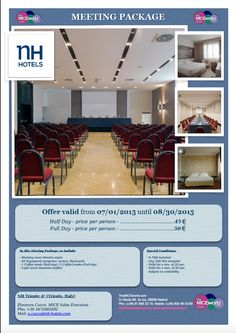 For business functions, the hotel features 7 meeting rooms with natural light that can host approximately 180 people. Complete with a multilingual in-house staff, the NH Trieste hotel offers a perfect setting for all your events: meetings, conferences, conventions, private events, and more. Check it on www.TheMICEworld.com!