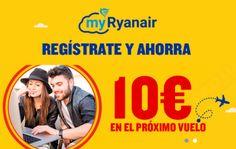 Regístrate en Ryanair y ahorra 10€ en tu próximo vuelo