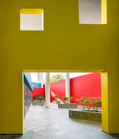Indian architecture studio Charged Voids has designed a student housing block in a suburb of Chandigarh, featuring brightly coloured surfaces and columns that reference the architecture of pioneering modernist Le Corbusier. Reclaimed Windows, Student House, Indian Architecture, Dezeen, Le Corbusier, Chandigarh, Hostel, Windows And Doors, Branding Design