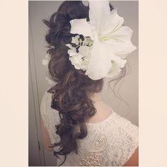 「いつも来ていただいてるお客様♡ birthdayということでカサブランカと紫陽花を♡ ほんとに素敵でした◡̈⃝︎⋆︎* #hair #saichunhair #braid#gekkabijin #style #hairset #kimono #bridal #bridalhair…」