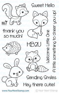 Woodland Cuties, fox, skunk, raccoon, bunny rabbit, hedgehog