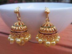 Pearl Jhumkas Gold Jumkas South Indian Jumkis Indian by Alankaar Wedding Jewellery Designs, Indian Wedding Jewelry, Gold Jewellery Design, Indian Jewelry, Bridal Jewelry, Jewellery Shops, Jewelry Designer, Indian Bridal, Gold Rings Jewelry