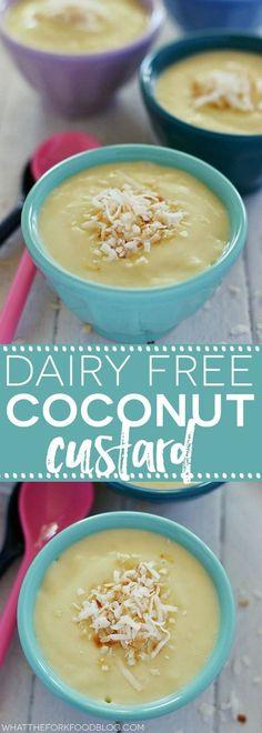 This Dairy Free Coconut Custard Easy dessert recipe from @whattheforkblog | whattheforkfoodblog.com