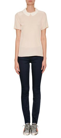 A pretty contrast collar lends a sweet look to this candy-colored silk top from Marc by Marc Jacobs #Stylebop