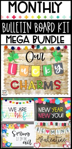Looking for classroom bulletin board ideas? This bulletin board kit bundle contains monthly kits that will make your life so much easier! Click to see all 12 kits that are included. #bulletinboardideas #elementarybulletinboards #middleschoolbulletinboards #highschoolbulletinboards #winterbulletinboards #summerbulletinboards #fallbulletinboards #springbulletinboards