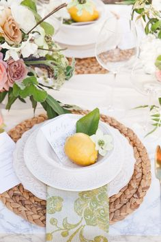 A Citrus Inspired Summer Wedding - with rattan chargers and lemons Table Setting Inspiration, Wedding Inspiration, Wedding Ideas, Beautiful Table Settings, Fall Table, Thanksgiving Table, Summer Wedding, Wedding Night, Tablescapes