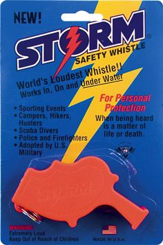 The Storm whistle are the loudest whistles in the world, capable of being heard over a half mile away and even able to work underwater. Easy to hold, easy to use and easy to hear. The Storm whistle is used by Police, military, search and rescue teams and private citizens that demand the best in protection. The Storm whistle has a patented resonance chamber attached to the whistle that enables focusing its sound like a laser beam and blast a noise twice as loud as any whistle made in the world.