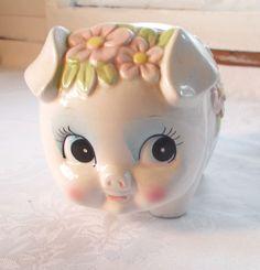 Vintage Pig Piggy Bank Japan 1950's/60's Pink Flowers