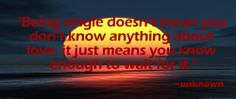 """""""Being single doesn't mean you don't know anything about love, it just means you know enough to wait for it."""""""