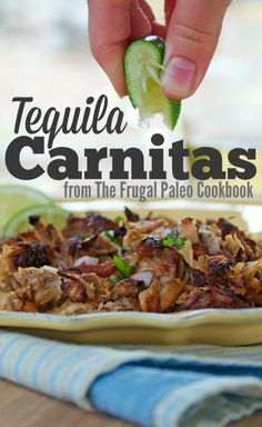 Tequila Carnitas | www.PopularPaleo.com | Pork 3 lbs (1.3 kg) pork shoulder, boneless 5 cloves garlic, crushed 1 small onion, thinly sliced juice of two limes, about ½ cup (118 mL) 1 large jalapeño, seeded and fined minced (about ¼ cup/45 g) 1 cup (237 mL) pure tequila (gluten-free, no added sugars) ½ cup (118 mL) water 1 serving Taco Spice Blend (below) 1 tsp (5 g) kosher salt 2 to 3 tbsp (30 to 45 g) lard or coconut oil