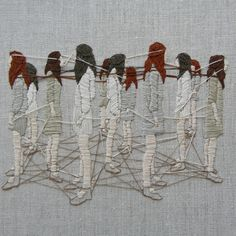 """Michelle Kingdom. """"My work explores psychological landscapes, illuminating thoughts left unspoken. I create tiny worlds in thread to capture elusive yet persistent inner voices. Literary snippets, memories, personal mythologies, and art historical references inform the imagery; fused together, these influences explore relationships, domesticity and self-perception."""""""