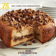 """Reason 51: Did someone say """"cake"""" for breakfast? Yes, please! Our Almond Streusel Coffee Cake with Caramel Filled DelightFulls™ is one sweet way to start any day. #TollHouseTime"""