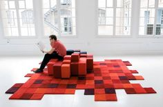 do-lo-rez sofa and carpet, designed by Ron Arad for Moroso and Nanimarquina