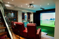 With the correct and most suitable #practice #golf at #home #equipment, you can learn how to improve #golf #game Golf Man Cave, Golf Room, Golf Simulators, Ladies Golf, Women Golf, Home Theater, Theatre, Golf Tips, Traditional House