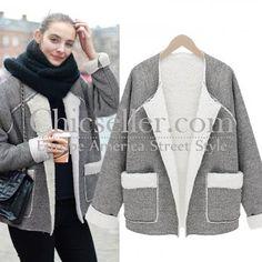 ChicSeller Grey Long Sleeve Faux Fur Outerwear