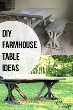 20 Gorgeous DIY Farmhouse Table Ideas That You Can Actually Make Love these! Easy and gorgeous DIY Farmhouse Table ideas. Get everything you need to know about building your own Farmhouse dining table with these plans and tutorials. Diy Farmhouse Table, Modern Farmhouse Decor, Farmhouse Homes, Farmhouse Furniture, Farmhouse Ideas, Diy Furniture Projects, Diy Wood Projects, Furniture Makeover, Furniture Repair