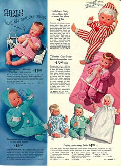 Baby Dolls from the Sears Christmas Catalog, 1963