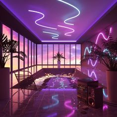 30 ideas trippy art women colour for 2019 Aesthetic Bedroom, Purple Aesthetic, Retro Aesthetic, Neon City, Retro Futurism Art, Futurism Architecture, Custom Neon, Vaporwave Fashion, Neon Room