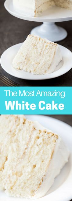 The Most Amazing White Cake recipe is here! It's light, and airy, and absolu… The Most Amazing White Cake recipe is here! It's light, and airy, and absolutely gorgeous. This is the white cake you've been dreaming of! Cupcake Recipes, Baking Recipes, Cupcake Cakes, Dessert Recipes, White Cake Recipes, Wedding Cake Recipes, Perfect Wedding Cake Recipe, Vanilla Cake Recipes, Healthy Recipes