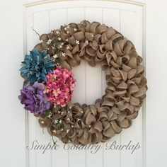 Stunning rustic burlap wreath accented with by SimpleCountryBurlap
