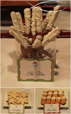 Ski pole pretzels, snowflake cookies & snowshoes peanut butter nutters. Olympic party snacks!