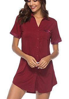 30c4b2eea0 Etosell Womens Sleep Shirts Dress Cotton Nightgown Button Down Lapel  Boyfriend Sleepwear