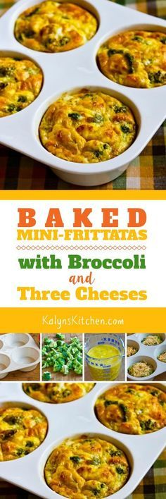 I love these one-dish-breakfast Baked Mini-Frittatas with Broccoli and Three Cheeses, and if you don't have a ceramic baking dish like this they can be baked in any individual baking dishes or muffin cups that hold one cup. And these tasty mini-frittatas are low-carb, gluten-free, vegetarian, and South Beach Diet Phase On! [found on KalynsKitchen.com]