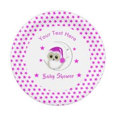 Whimsy Super Cute Snowy Owl Baby Personalized Paper Plate - toddler youngster infant child kid gift idea design diy