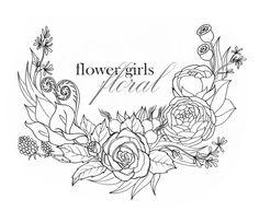 Custom (Tattoo) Illustration for Flower Girls Floral, logo design; by SlowDesigns Florist logo design Roses, Mini Roses, Calla Lilies, Rose Hips, Eucalyptus leaves and seeds, Ranunculus, Fiddleheads, Poppy pods, Berries https://www.facebook.com/StephanieLowDesigns kepeann@gmail.com