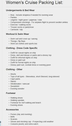 Cruise Packing List for Women www. - Travel Tips - Packing List For Cruise, Vacation Packing, Cruise Tips, Cruise Travel, Cruise Vacation, Vacations, Weekend Packing, Packing Lists, Travel Packing