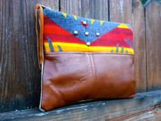 Pendleton Wool Fabric and Leather Bag Clutch Pouch by StarryGarden, $48.00