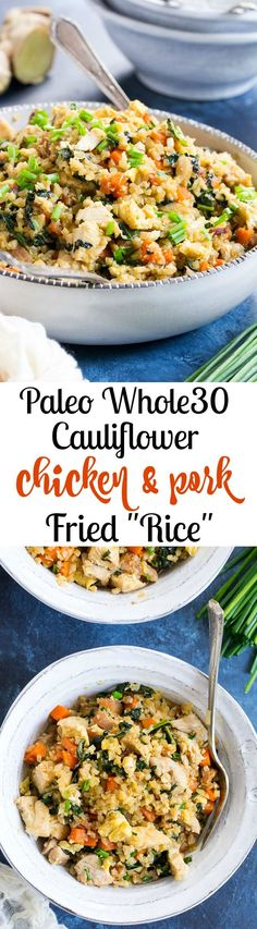 This cauliflower fried rice tastes just like the real thing (maybe better!) but it's much healthier and easy to make at home.  Loaded with flavor, protein, veggies and healthy fats, it makes a great weeknight meal that everyone will love.  Paleo, Whole30 compliant, low carb, kid approved!