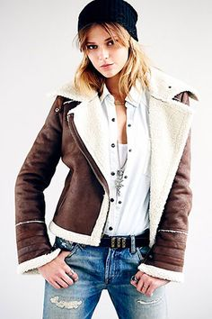 FREE PEOPLE VEGAN SHEARLING MOTORCYCLE JACKET, $268, AVAILABLE AT FREE PEOPLE.