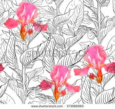 Seamless Pattern Illustration Hand drawn Watercolor Irises and Ink Drawing Leaves - stock photo
