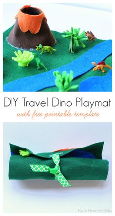 Use this free printable template to create a DIY no-sew travel dinosaur playmat - great for entertaining kids on the go!
