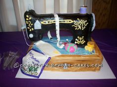 Greatest Sewing Machine Cake for 90 Year Old Seamstress... This website is the Pinterest of birthday cake ideas