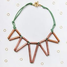 Learn how to make this geometric copper statement necklace!