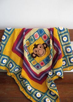 "MADE TO ORDER Handmade Crocheted Monkey Children blanket afghan granny squares 45"" by 45"". $150.00, via Etsy."