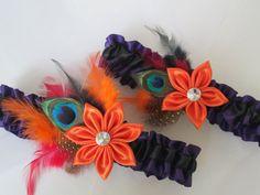 #Halloween #Wedding #Garters #Orange #Garter #NightmareBeforeChristmas #Wedding #DayOftheDead #JackSkellington #Peacock by GibsonGirlGarters