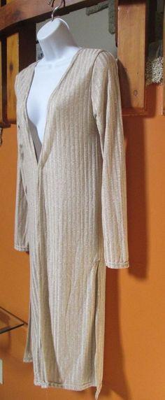 LOVE Long Grey Ribbed Cardigan Sweater L #Love #Cardigan