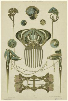 """Image Title:  [Jewelry, Paris, France, 1901s.] Creator: Beauclair, René, fl. 1910 -- Artist Published Date: 1900-1902 Specific Material Type: Prints Item Physical Description: 1 print : col. ; 33 x 22 cm. (12 3/4 x 8 1/2 in.) Notes: Printed on border: """"R. Beauclair. Bijoux modernes."""" """"Deuxième série."""" """"Ch. Schmid, éditeur, Paris."""" Original Source: From Bijoux modernes. (Paris : Charles Schmid, 1900-1902) Beauclair, René (fl. 1910), Author."""