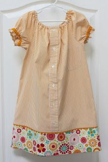 Peasant dress made from a man's dress shirt with a link to the pattern and tutorial