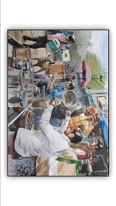 Watercolour Drawings, Watercolor Landscape Paintings, Sketch Painting, Watercolor Bird, Figure Painting, Human Figure Sketches, Figure Sketching, Composition Painting, Bird Stencil