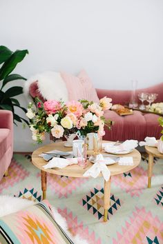 Girls Brunch | Pink Couch | Colorful Rug Styling Idea