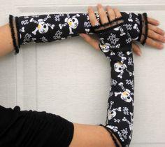 ☆ Skull and Cross Bones Stretch Arm Warmers Fingerless Gloves ☆