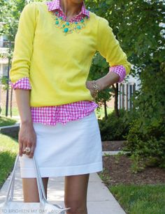 Gingham!  Minus the little white skirt.  Maybe white shorts or capris.  Love the yellow/pink/aqua colors.