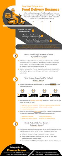 """Do you want to start a food delivery business? Find our """"Easy ways to grow your Food Delivery Business"""" Infographic to get some valuable ideas. Meal Delivery Service, Food Service, Delivery Food, Service Ideas, Business Marketing, Marketing Ideas, Business Infographics, Marketing Tools, Cloud Kitchen"""